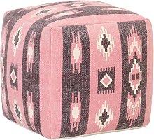 Puf de diseno estampado de algodon rosa 45x45x45 cm