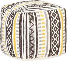 Puf de diseño tejido de algodón multicolor