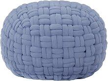 Puf de diseño trenzado de algodón azul 50x35 cm