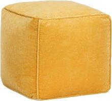 Puf de terciopelo de algodón amarillo 40x40x40 cm