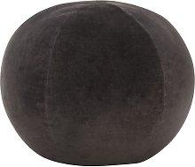 Puf de terciopelo de algodón gris antracita 50x35