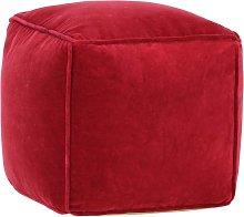 Puf de terciopelo de algodón rojo rubí 40x40x40