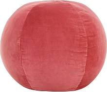 Puf de terciopelo de algodón rosa 50x35 cm - Rosa