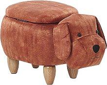 Puf de terciopelo marrón con almacenaje DOGGY