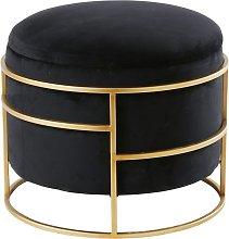 Puf de terciopelo negro y metal dorado