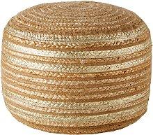 Puf de yute con estampado dorado