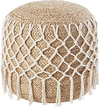 Puf de yute trenzado y cuerda de algodón color