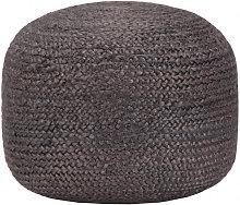 Puf hecho amano gris oscuro 45x30cm yute Vida XL