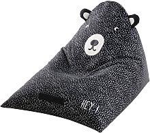 Puf infantil de oso blanco y negro estampado