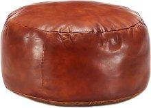 Puf marrón 60x30 cm cuero auténtico de cabra -