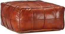 Puf marrón 60x60x30 cm cuero auténtico de cabra