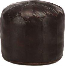 Puf marrón oscuro 40x35 cm cuero auténtico de