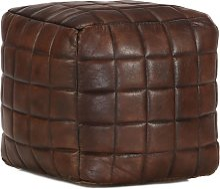 Puf marrón oscuro 40x40x40 cm cuero auténtico de