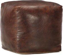 Puf marrón oscuro 40x40x40 cm cuero genuino de