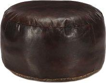 Puf marrón oscuro 60x30 cm cuero auténtico de