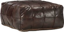 Puf marrón oscuro 60x60x30 cm cuero auténtico de