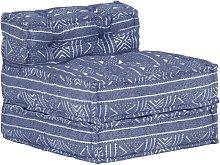 Puf modular de tela índigo - Azul - Vidaxl
