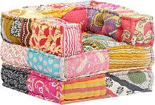 Puf modular de tela patchwork - Multicolor