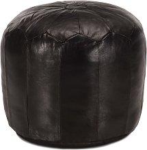 Puf negro 40x35 cm cuero genuino de cabra - Hommoo