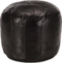 Puf negro 40x35cm cuero genuino de cabra Vida XL