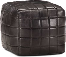 Puf negro 40x40x40 cm cuero auténtico de cabra -