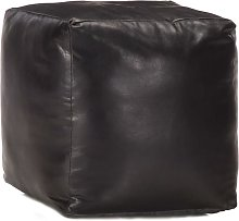 Puf negro 40x40x40 cm cuero genuino de cabra -
