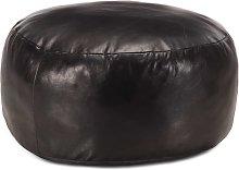 Puf negro 60x30 cm cuero auténtico de cabra -