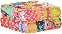 Puf patchwork de tela 60x70x36 cm - Multicolor