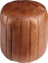 Puf redondo de cuero marrón