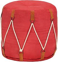 Puf rojo 40x40 cm lona de algodón - Hommoo