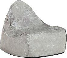 Puf sillón en piel sintética gris LINEN DROP