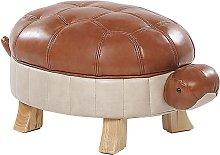 Puf tapizado en piel sintética marrón TURTLE