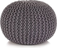 Puf tejido a mano 50x35 cm algodón gris - Gris