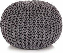 Puf tejido a mano 50x35 cm algodon gris