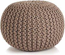 Puf tejido a mano 50x35 cm algodon marron