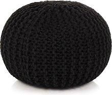 Puf tejido a mano 50x35 cm algodón negro - Hommoo