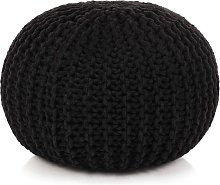 Puf tejido a mano 50x35 cm algodón negro - Negro
