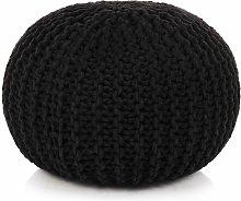 Puf tejido a mano 50x35 cm algodon negro