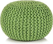 Puf tejido a mano 50x35 cm algodon verde