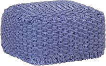 Puf tejido a mano de algodón azul 50x50x30 cm -