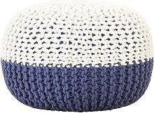 Puf tejido a mano de algodón azul y blanco 50x35