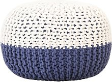 Puf tejido a mano de algodon azul y blanco 50x35 cm