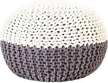 Puf tejido a mano de algodon gris antracita y