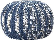 Puf tejido a mano de lana azul y blanco 50x35 cm -