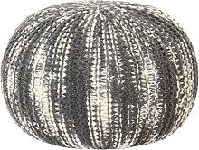 Puf tejido a mano de lana gris oscuro y blanco
