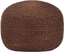 Puf tejido a mano marrón 40x45 cm yute - Marrón
