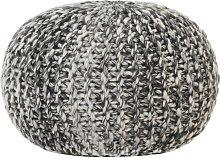 Puf tejido a mano tela con aspecto de lana gris