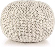 Puf tejido amano 50x35cm algodón blanco Vida XL