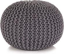 Puf tejido amano 50x35cm algodón gris Vida XL