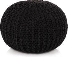 Puf tejido amano 50x35cm algodón negro Vida XL